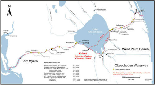 complete map of the okeechobee waterway - starting in stuart florida ending in fort myers florida.